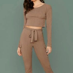 Oak + fort cropped ribbed long sleeve sz s